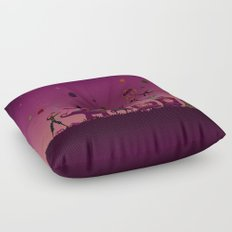 colorful circus carnival traveling in one row at night Floor Pillow