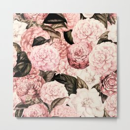 Vintage & Shabby Chic Pink Floral camellia flowers watercolor pattern Metal Print