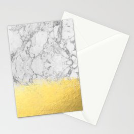 Marble with Brushed Gold - Gold foil, gold, marble, black and white, trendy, luxe, gold phone Stationery Cards