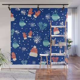 Winter Pattern Mittens Mugs Hearts Snow Flakes Wall Mural