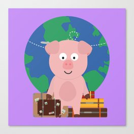 Globetrotter Travel Pig with Suitcases Bfrz8 Canvas Print