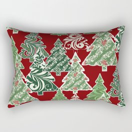 Peppermint Christmas Modern Trees with Mod Scroll Swirl Patterns Rectangular Pillow