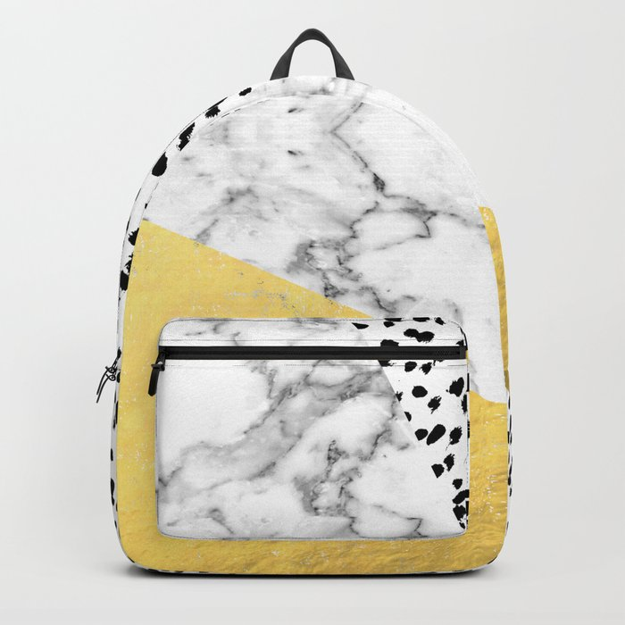 Carina - gold black and white with marble abstract painting minimalist decor dorm college nursery Rucksack