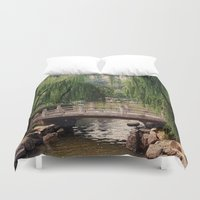 asian Duvet Covers featuring Asian Garden by MehrFarbeimLeben