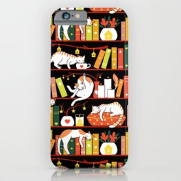 Library cats - autumn iPhone Case