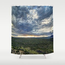 Burning Sky and Lava Field Shower Curtain