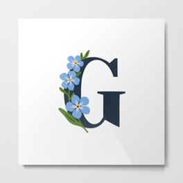 G WITH FORGET ME NOT Metal Print