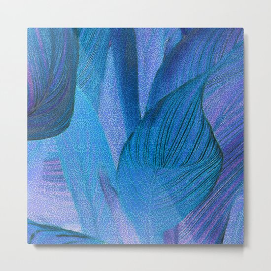 Exotic Leaves with Translucent Floral Pattern Metal Print