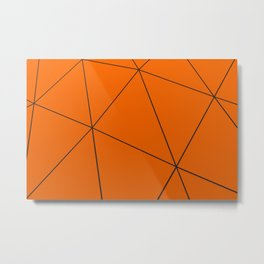 Orange low poly displaced surface with black lines Metal Print