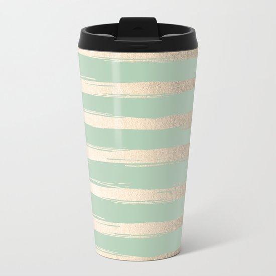 Simply Brushed Stripes White Gold Sands on Pastel Cactus Green Metal Travel Mug