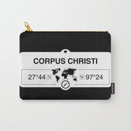 Corpus Christi Texas Map GPS Coordinates Artwork with Compass Carry-All Pouch