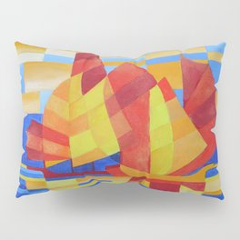 Sailing on the Seven Seas so Blue Cubist Abstract Pillow Sham
