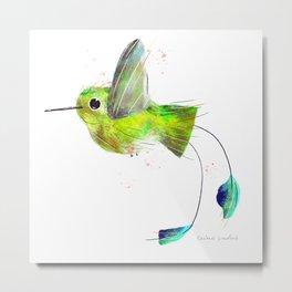Flying Booted Racket Tailed Hummingbird Bird Illustration  Metal Print