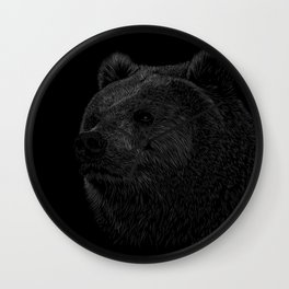 Grizzly Line art Wall Clock