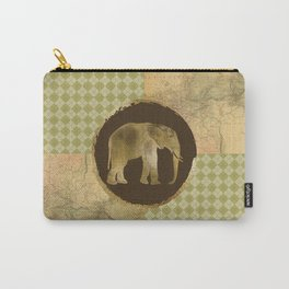 African Elephant on Map and Argyle Carry-All Pouch