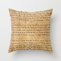 bible verses Throw Pillows featuring Asemic Script Verses by Lestaret