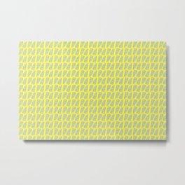 Palm Leaves Lemon Yellow Metal Print