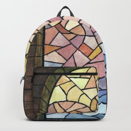 Stained glass, watercolor abstract Backpack