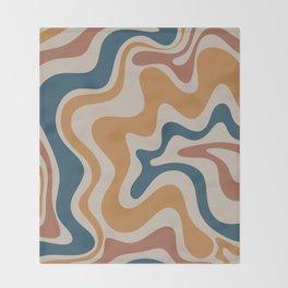 Liquid Swirl Retro Abstract Pattern Blue Ochre Rust Taupe Throw Blanket