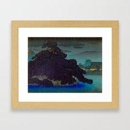 Vintage Japanese Woodblock Print Raining Landscape Tree On Rock Leaning Into The Lake Comforting Nig Framed Art Print