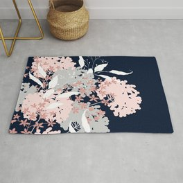 Wildflowers, Floral Print, Navy Blue and Pink Rug