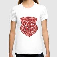 maori T-shirts featuring Maori Mask Etching by patrimonio
