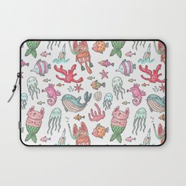Hand painted pink teal nautical coral fish pattern Laptop Sleeve