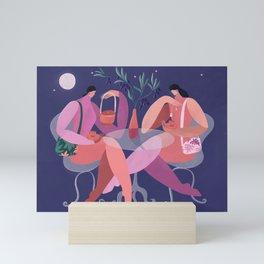 Midnight tea by the olive branch Mini Art Print