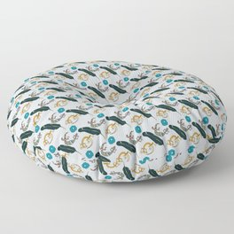 Funky Lizards, Feather, and Flower Floor Pillow
