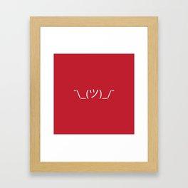 ¯\_(ツ)_/¯ Shrug - Red Framed Art Print