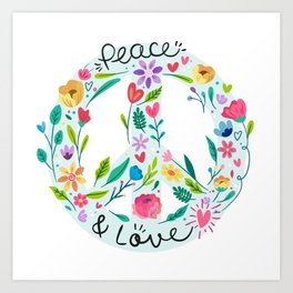 Peace And Love Floral Sign Art Print