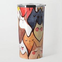 cat face colour Travel Mug