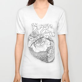 Anatomy Series: Myocardial Heart Mandala Flowers Unisex V-Neck