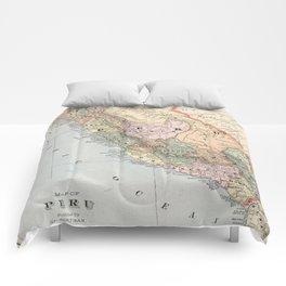 Vintage Map of Peru (1901) Comforters