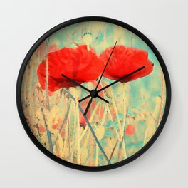 Poppies vintage 3 Wall Clock