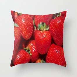 Garden Strawberries Throw Pillow