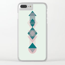 Nr. 1 Geometric Totem Pole Blush Pink and Green Clear iPhone Case