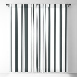 PPG Night Watch Pewter Green & White Wide & Narrow Vertical Lines Stripe Pattern Blackout Curtain
