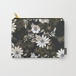 Modern black white faux gold elegant floral Carry-All Pouch