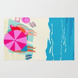 Toasty - memphis throwback minimal retro neon beach surfing suntan waves ocean socal pop art Rug