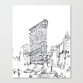 NYC Flatiron Building Sketch Canvas Print