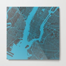 New York - Blue Metal Print