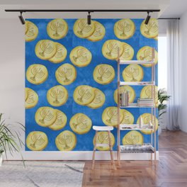 Hanukkah Gold Wrapped Chocolate Coins (Gelt) With Menorah Wall Mural