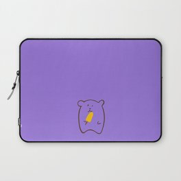 Cute Bear Eating Yellow Popsicle Stick | Minimalistic | Hand-Drawn | Stay Fresh During Summer Laptop Sleeve