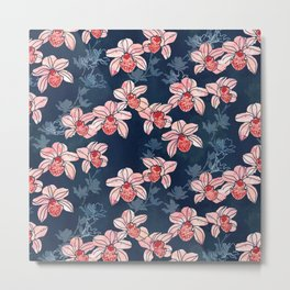 Orchid garden in peach on navy blue Metal Print