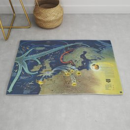 Vintage Map Print - 1944 Chart of World War II in the North Sea Area Rug