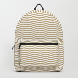Gold and White Christmas Wavy Chevron Stripes Backpack