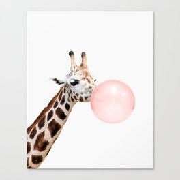 Giraffe, Bubble gum, Pink, Animal, Nursery, Minimal, Trendy decor, Interior, Wall art Canvas Print