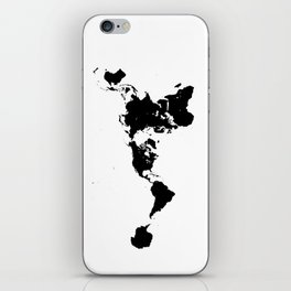 Dymaxion World Map (Fuller Projection Map) - Minimalist Black on White iPhone Skin