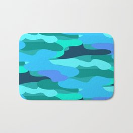 Sky Blue and Forest Green Camo Pattern Bath Mat